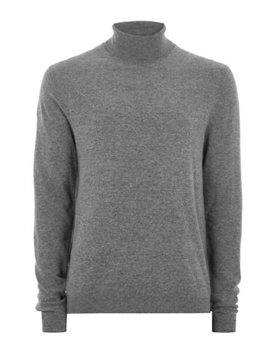 Topman Slim Fit Cashmere-Blend Turtleneck-CHARCOAL-Large