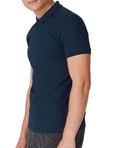 Topman Muscle Fit Polo-DARK BLUE-Medium