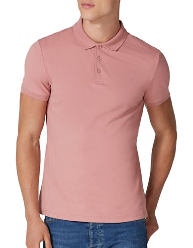Topman Muscle Fit Polo-PINK-Medium