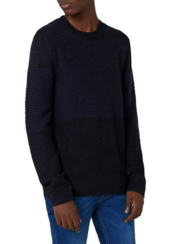 Topman Slim Fit Panel Knit Sweater-NAVY BLUE-Small