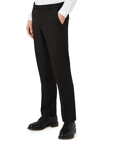 Topman Twill Slim Fit Suit Trousers-BLACK-28