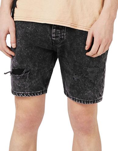 Topman Acid Wash Ripped Slim Denim Shorts-BLACK-34