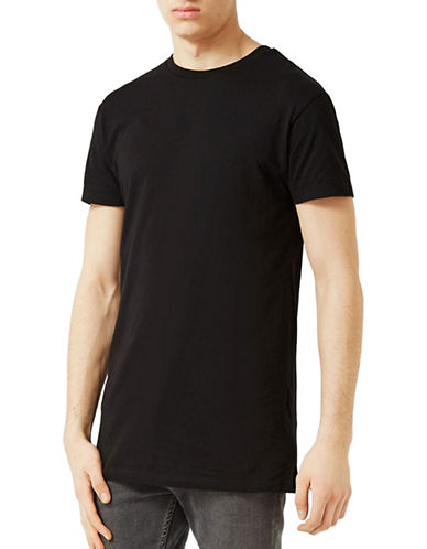 Topman Muscle Fit Longline T-Shirt-BLACK-Large