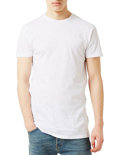 Topman Muscle Fit Longline T-Shirt-WHITE-X-Large