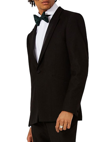 Topman Satin Detail Skinny Fit Tuxedo Jacket-BLACK-40