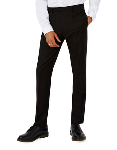 Topman Skinny Fit Tuxedo Trousers-BLACK-28