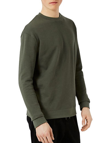 Topman Dray Sweatshirt-KHAKI/OLIVE-X-Large