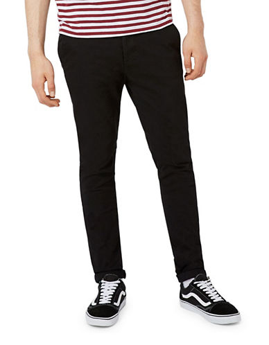 Topman Stretch Skinny Chinos-BLACK-32 Short
