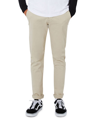 Topman Stone Stretch Skinny Chinos-GREY-34 Short