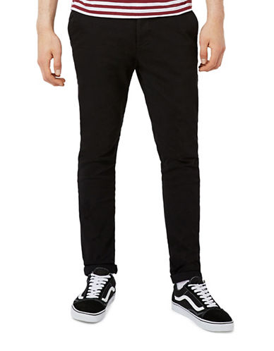 Topman Stretch Skinny Chinos-BLACK-28 Short