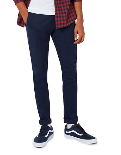 Topman Stretch Skinny Chinos-DARK BLUE-34 Short