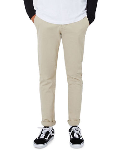 Topman Stone Stretch Skinny Chinos-GREY-32 Long