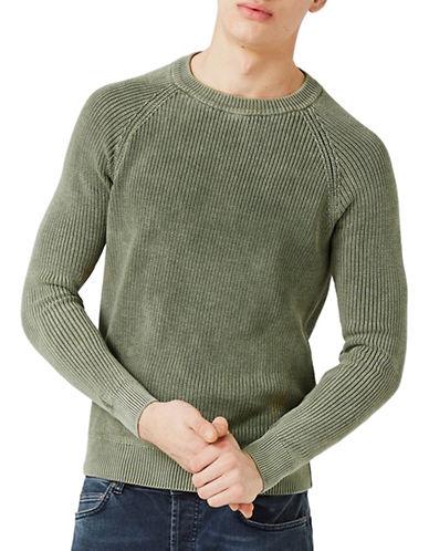 Topman Acid Wash Raglan Sweater-KHAKI/OLIVE-Large
