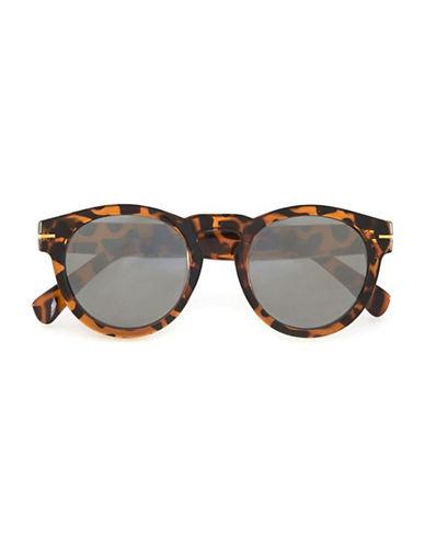 Topman Round Tortoiseshell Mirrored Sunglasses-BLACK-One Size