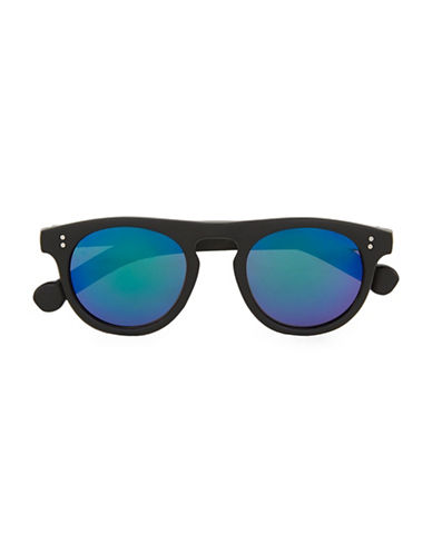 Topman Flat Top Round Sunglasses-BLACK-One Size