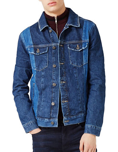 Topman Panelled Denim Jacket-BLUE-Small 89115427_BLUE_Small