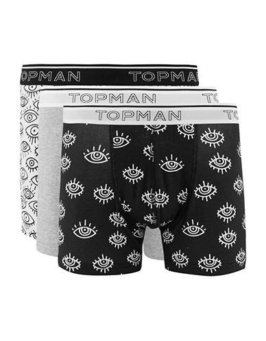 Topman Three-Pack Printed Eye Trunks-BLACK-Large/X-Large