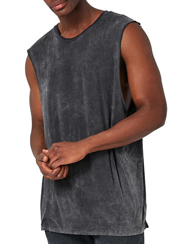 Topman Washed Saint Tank Top-BLACK-X-Large