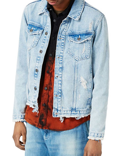 Topman Distressed Denim Jacket-BLUE-Large 89155289_BLUE_Large