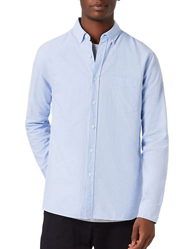 Topman Button-Down Sport Shirt-BLUE-Medium