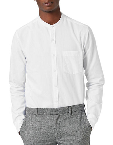 Topman Stand Collar Oxford Shirt-WHITE-X-Large