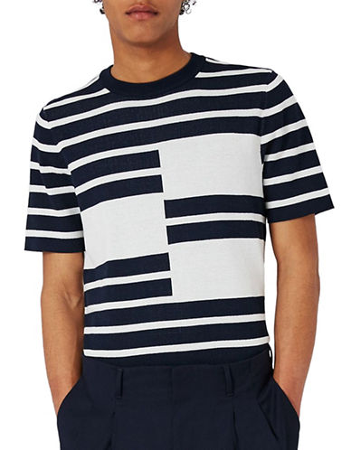 Topman Premium Knitted Stripe T-Shirt-WHITE-Small
