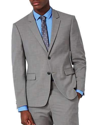 Topman Marl Ultra Muscle Fit Suit Jacket-GREY-34
