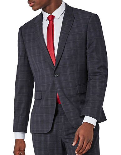 Topman Check Ultra Muscle Fit Suit Jacket-DARK BLUE-38