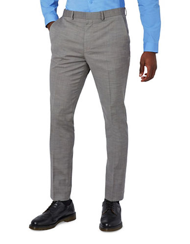 Topman Marl Ultra Muscle Fit Suit Trousers-GREY-32 Long