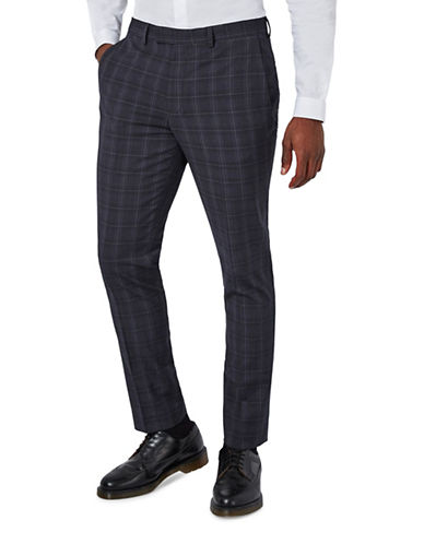 Topman Check Ultra Muscle Fit Suit Trousers-DARK BLUE-28 Short