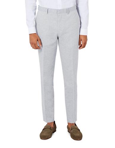 Topman Cotton-Linen Skinny Fit Suit Trousers-LIGHT BLUE-30