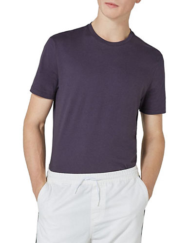 Topman Cotton Crew Slim T-Shirt-PURPLE-X-Small