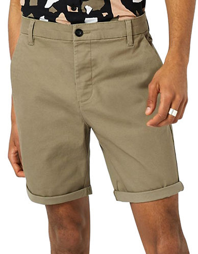 Topman Stretch Skinny Chino Shorts-BEIGE-28