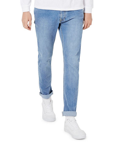 Topman Vintage Wash Stretch Slim Jeans-BLUE-36