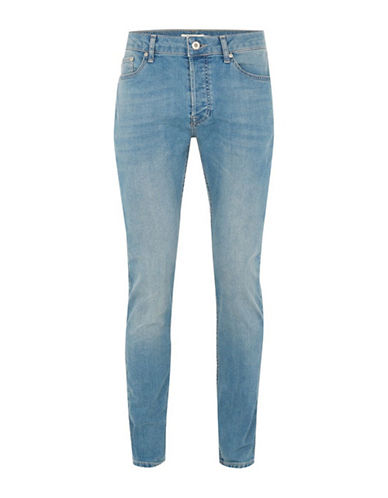 Topman Stone Wash Stretch Slim Jeans-BLUE-34 Short