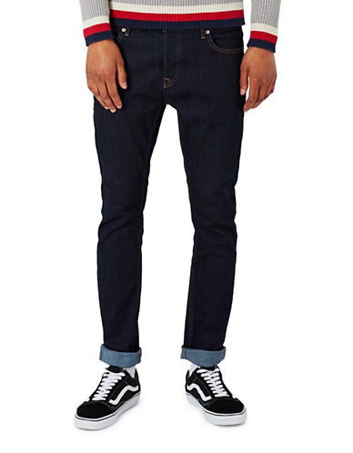 Topman Raw Stretch Skinny Jeans-BLUE-32 Long