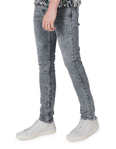 Topman Cloud Stretch Skinny Jeans-GREY-36 Long
