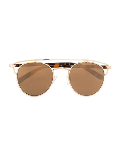 Topman Round Mirrored Sunglasses-YELLOW-One Size