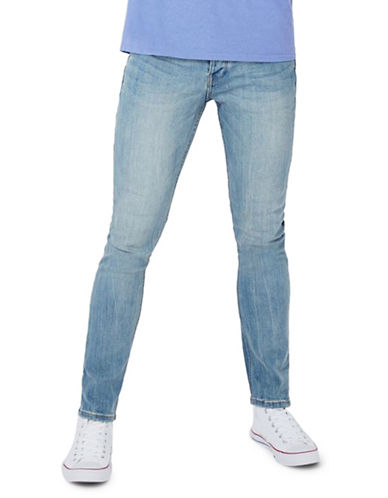 Topman Light Wash Stretch Slim Jeans-BLUE-30 Short