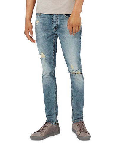 Topman Ripped Stretch Skinny Jeans-BLUE-34 Long