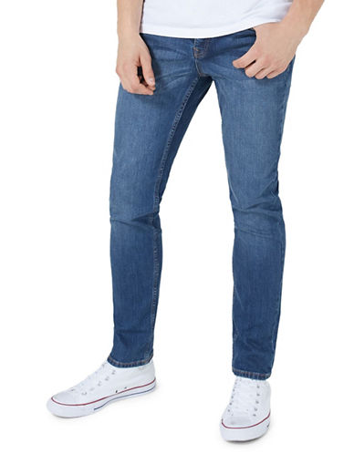 Topman Mid Wash Stretch Slim Jeans-BLUE-34 Long
