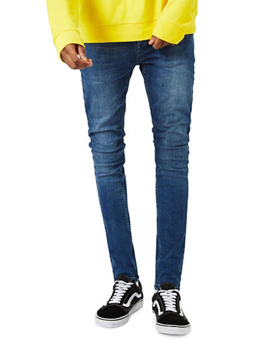 Topman Zayne Super Spray-On Skinny Jeans-BLUE-34 Short