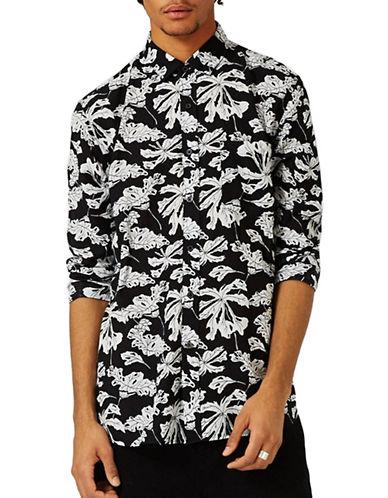 Topman Leaf-Printed Sport Shirt-BLACK-Large