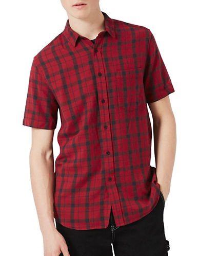 Topman Callum Checked Sport Shirt-RED-X-Small