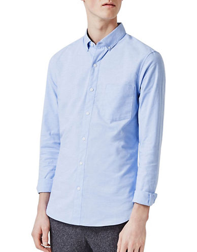 Topman Muscle Fit Oxford Sport Shirt-BLUE-Medium
