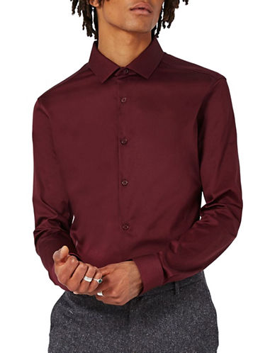 Topman Premium Satin Touch Smart Shirt-BURGUNDY-Small