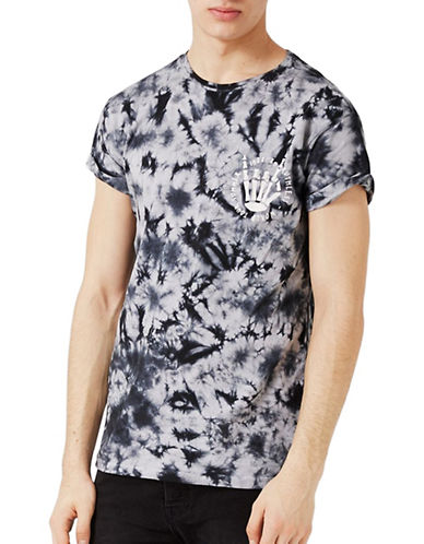 Topman Tie Dye Muscle Fit T-Shirt-GREY-X-Large