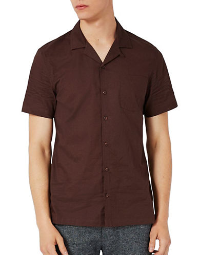 Topman Dobby Short-Sleeved Shirt-BROWN-Small