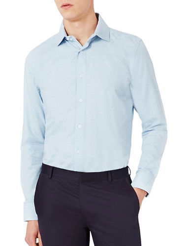 Topman Jacquard Slim Fit Sport Shirt-BLUE-Large