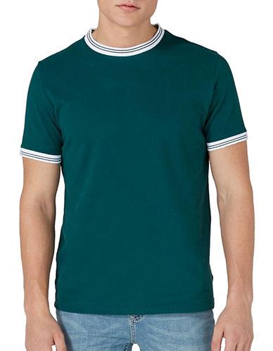 Topman Pique Ringer T-Shirt-GREEN-Small